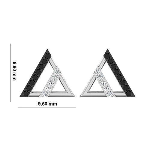 Libertini Boucle d'oreille argent 925 plaque or Rose serti de Diamant en forme de Triangulaire
