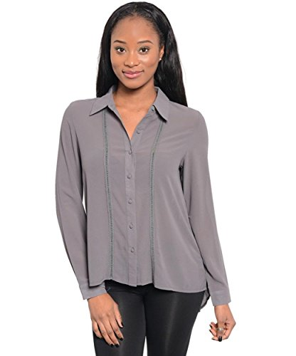 2LUV Women's Button Pleat Back Top Grey S(T38200)