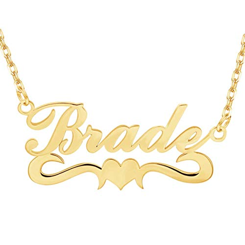WENSDIA Personalized Names Custom Name Necklace Pendant,18K Gold Plated Nameplate Personalized Jewelry Name Chain Gift for Women (Heart Necklace 1 18