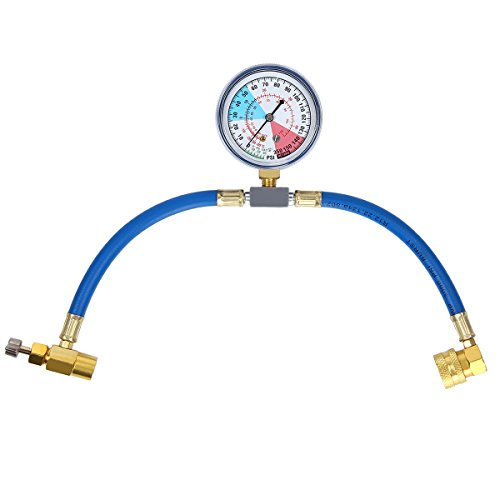 TargetEvo R134a Air Conditioning Refrigerant Charging Measuring Hose Recharge Kit With Gauge