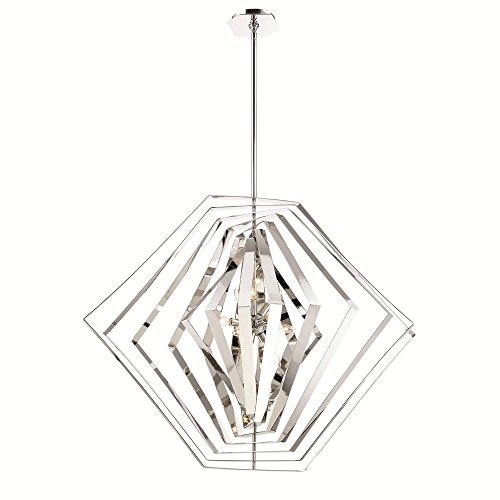 (Eurofase Downtown Symmetrical Adjustable Modern Chandelier, Hand Polished Chrome Finish, 10 B10 Light Bulbs, 45 Inches in Diameter-Model 31888-011)