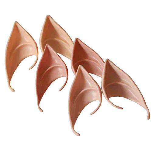 Halloween Pixie Ears,Lovewe 3Pair Halloween Costume Party Fairy Elf Pixie Alien Fake Pointed Ears Tips Prop,Soft Pointed Ears of Fairy Pixie for Anime Cosplay (B)]()