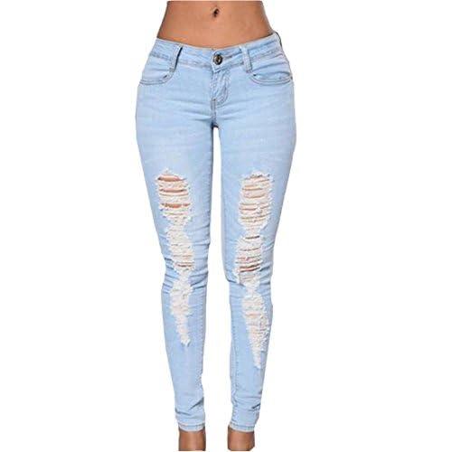 Abetteric Women's High Waist Stylish Broken Hole Solid Pencil Jeans supplier