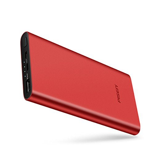 PISEN Power Bank, Slim Portable Charger, Battery Pack 10000mAh with LED Indicator Light, USB External Battery Charger [Anti-Fingerprint] for iPhone, iPad, Samsung, Nexus and More (Red)