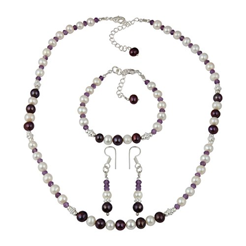 Extension Oxidized Bead Necklace (African Amethyst Beads White Cultured Freshwater Pearl Fashion Necklace Earrings Bracelet Jewelry Set)
