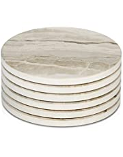 LIFVER 6 Pieces Ceramic Drink Coasters, Absorbent Stone Coaster Set, Marble Surface Pattern
