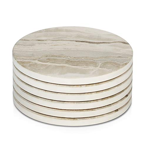- LIFVER 6 Pieces Ceramic Drink Coasters, Absorbent Stone Coaster Set, Marble Surface Pattern