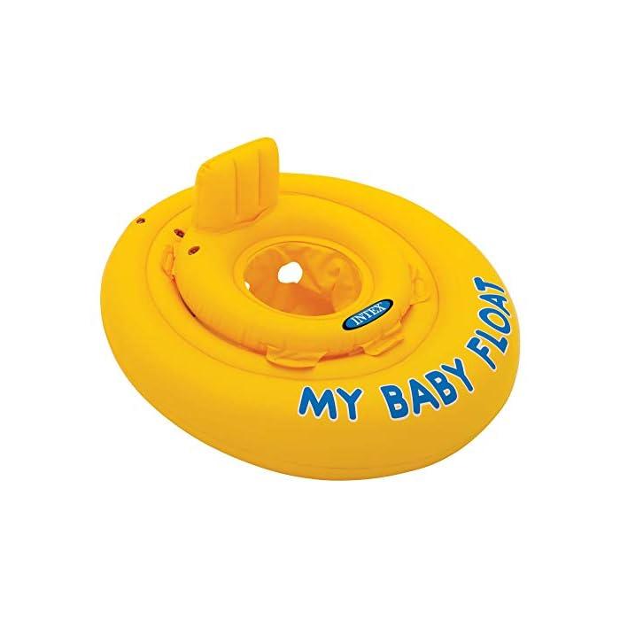 41X2JayT2hL Flotador hinchable Intex para bebé con forma circular y de color amarillo Tiene asiento y respaldo de apoyo para mayor comodidad del bebé y un diámetro de 70 cm El flotador está fabricado con vinilo resistente y tiene 4 cámaras de aire