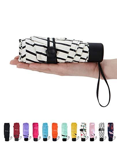 Fidus Mini Compact Sun&Rain Travel Umbrella - Lightweight Portable Umbrella with 95% UV Protection-Stripe White