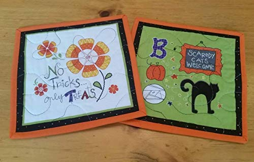 Halloween Mini Place mats, Mug Rugs, Snack Mats, Trivets Set of 2, Black Cat, Boo, No Tricks, Only Treats, Scaredy Cats Welcome, Teacher's Gift, Non Candy Halloween Gift, Candy Corn, Gifts Under 20]()