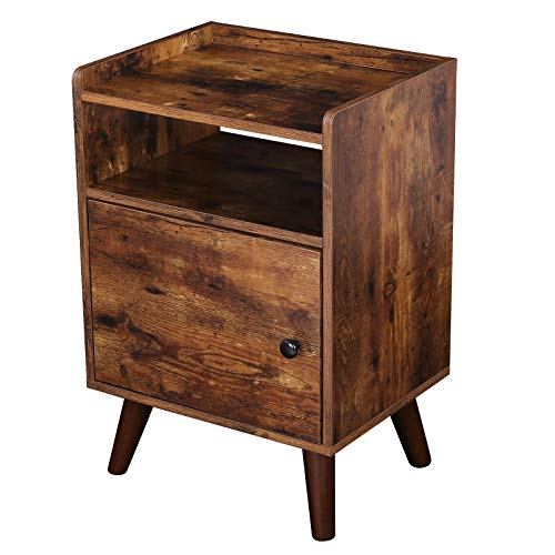 HOOBRO End Table, 3-Tier Nightstand with Switchable Door, Side Table for Small Spaces, Wood Look Accent Table, Stable…