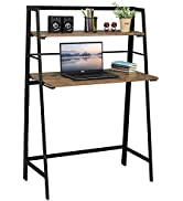 Coavas Folding Desk Writing Computer Desk with 2 Tiers Shelf Industrial Style Desk and Home Offic...