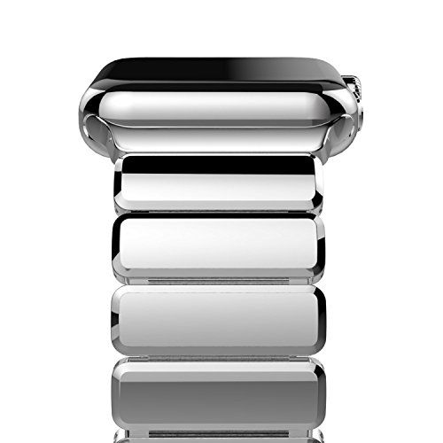 Oittm Watch Band for Apple Watch Series 4, 44mm/42mm Stainless Steel Replacement Strap Link Bracelet Metal iWatch Band with Double Button Folding Clasp for Apple Watch 4/3/2/1 44mm/42m (Bright Sliver)