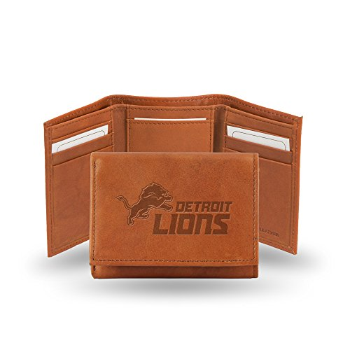 Lions Leather Detroit Nfl - Rico Industries NFL Detroit Lions Embossed Leather Trifold Wallet, Tan