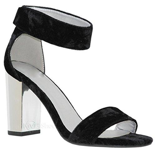 MVE Shoes Women's Sandal - Chunky Block Heel Ankle Strap -Open Toe Summer Dress Shoe, Echo blk SLV vel ()