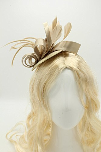 1d33f3cf Felizhouse Fascinator Hats For Women Feather Cocktail Party Hats Bridal  Kentucky Derby Headband (Light Khaki