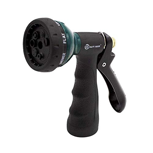 AUTOMAN-Garden-Hose-Nozzle,Metal Water Spray Nozzle with Heavy Duty 7 Adjustable Watering Patterns,Slip Resistant for Watering Plants,Lawn& Garden,Washing Cars,Cleaning,Showering Pets & Outdoor - Nozzle Hose Plastic Garden