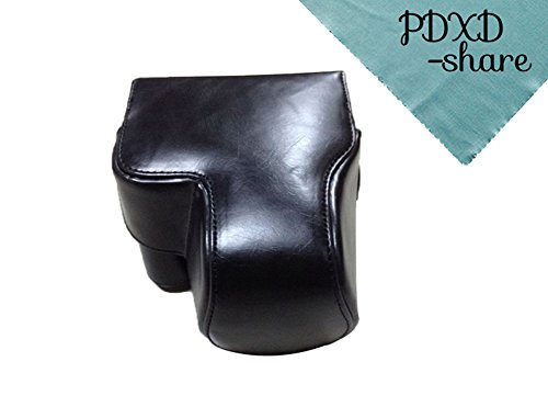 PDXD-share Protective Camera Case Bag for Panasonic Lumix DMC-FZ200 DMCFZ200 FZ200 with Shoulder Strap (Black)