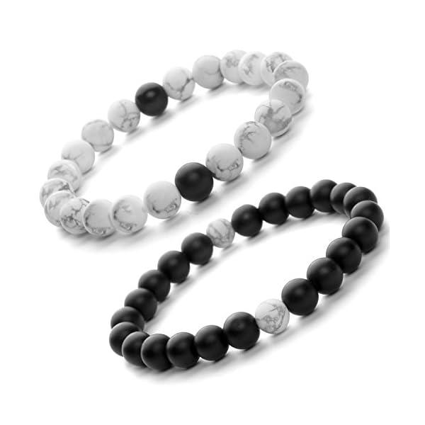 Gadblesjew Distance Relationship Bracelet – Touch Bracelets for Couples –  Friendship Bracelet Black and White – Beaded Band for Boyfriend,  Girlfriend,