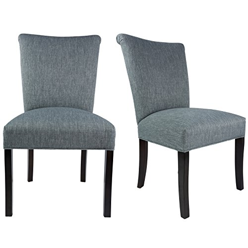Sole Designs The Barcelona Collection Contemporary Style Fabric Upholstered Armless Dining Side Chairs (Set of 2), Ash Grey