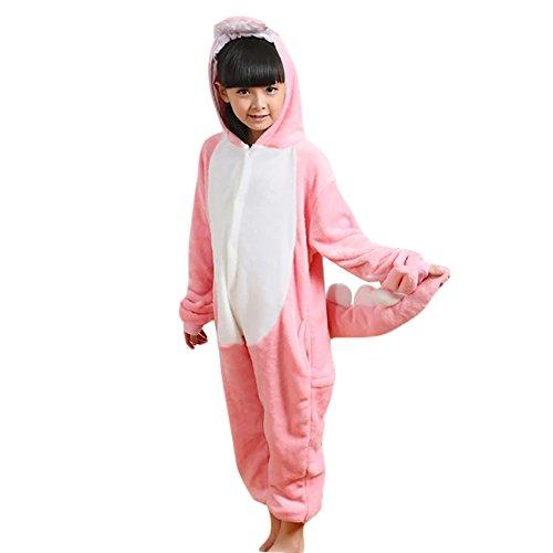 LPATTERN Unisex-Kids Cartoon Onesies Animals Cosplay Costume One-Piece Pajamas, Pink Dinosaur, L(for Height:115-125cm)]()
