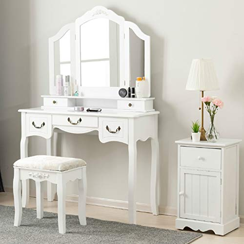 Mecor Vanity Table, Wood Makeup Dressing Table Tri-Folding Mirror,Bedroom Vanity Set w/Cushioned Stool & 5 Drawers Storage for Girls Women White