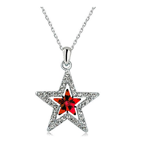 MUZHE Hollow Double Crystal Five-Point Star Pendant Necklace Ruby Sapphire Ruler Jewelry for Women (Red)