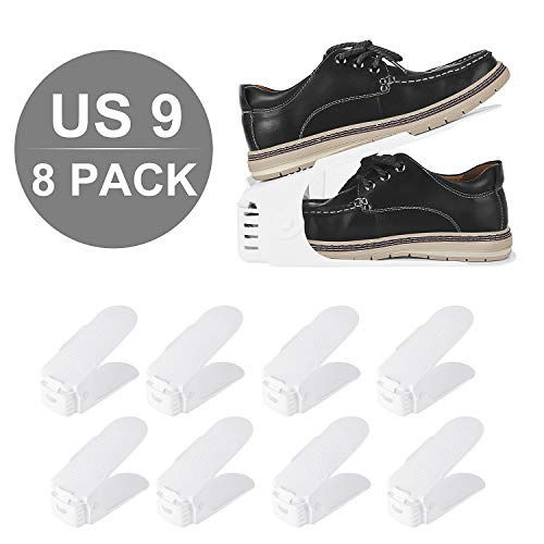femor Large Shoe Slots,Shoe Organizer, AdjustableShoeRackfor Large Size Shoes(Men)-DoubleLayer Stack-SpaceSaverStorageRackHolder 8-Pack (11.4Inch,White)