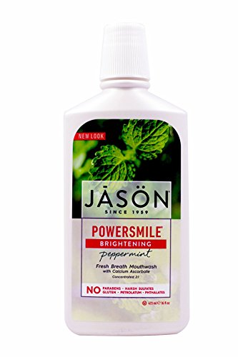 JASON PowerSmile Brightening Peppermint Mouthwash, 16 Ounce Bottles (Pack of 3)