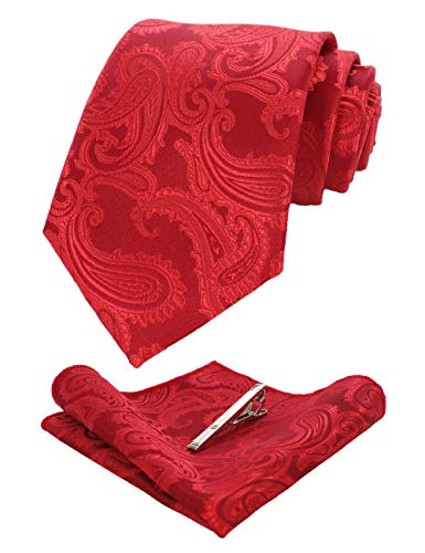 JEMYGINS Red Paisley Silk Tie and Pocket Square, Necktie with Tie Clip Sets for Men(2)