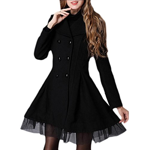 YUNY Womens Wrap Splice Autumn Winter Double Breasted Jacket Twill Pea Coats Black L