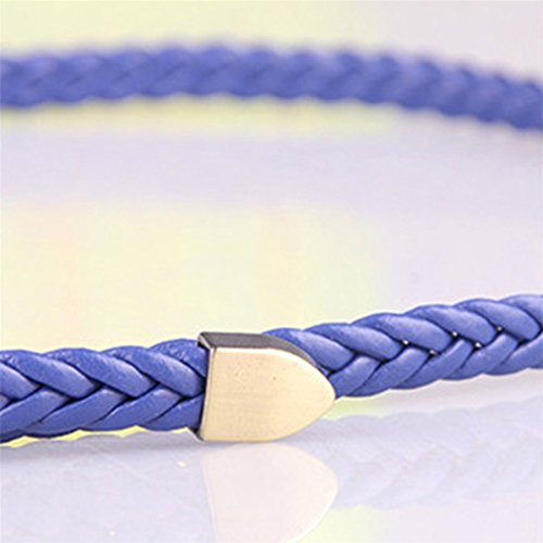 Skirt Belt Buckle Waist Women's Blue Braided Metal Decoration for Thin ODN belt Women xwFUaPP