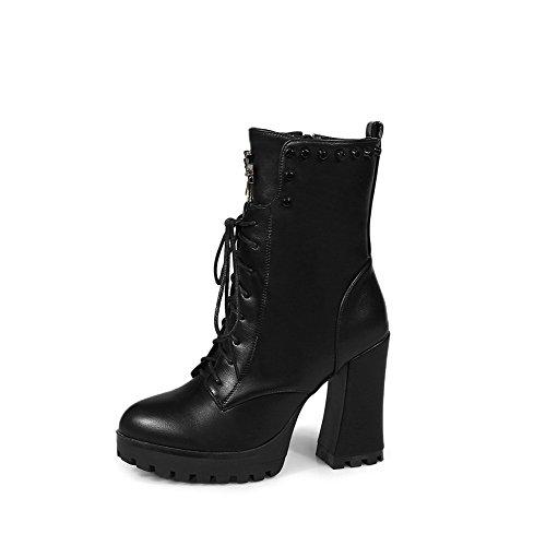 AllhqFashion Damen Schnüren Rund Zehe Hoher Absatz Niedrig-Spitze Stiefel mit Rivet Set, Weiß, 41