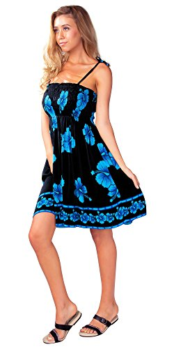 e472bb6a813 Galleon - 1 World Sarongs Womens Tube Top Sundress With Hibiscus Design In  Black Turquoise