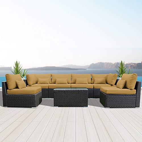 Modenzi 7G-U Outdoor Sectional Patio Furniture Espresso Brown Wicker Sofa Set Dark Beige