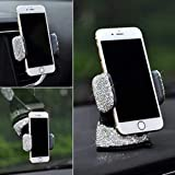 TISHAA Bling Rhinestone Universal Super Cute 360 Car Windshield Dashboard Mount Suction Adjustable Phone Holder for Easy View GPS Screen, iPhone & Android (White 360) Reviews