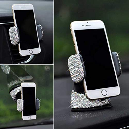 TISHAA Bling Rhinestone Universal Super Cute 360 Car Windshield Dashboard Mount Suction Adjustable Phone Holder for Easy View GPS Screen, iPhone & Android (White 360)