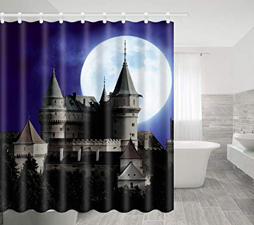 The Halloween Tree Disneyland (BTTY Halloween Shower Curtain Full Moon Night Ghost Castle Polyester Waterproof Kitchen Bedroom Bathroom Curtain with Hooks Fabric Artistic Horror Vampire Castle Shower Curtain Sets 70x70)