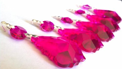 (Chandelier Crystal Fuchsia Hot Pink French Cut Prisms 50mm 5 Pack)