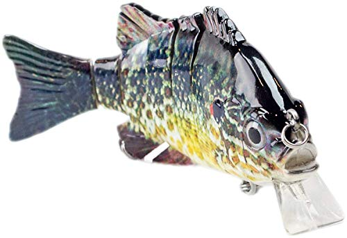 - Sunrise Angler 4 Inch Bluegill Jointed Swimbait | Sinking Hard Bait Fishing Lure for Freshwater Game Fishing with Textured Lifelike Skin, Curvy 'S' Swim and 3D Prismatic Eyes (GreenYell-S)
