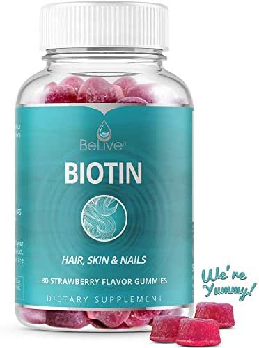 Biotin Gummies 10,000mcg Highest Potency for Hair Growth, Promotes Healthier Hair, Skin & Nail, Premium, Non-GMO, Pectin-Based - Best Strength for Women & Men, 60 Count