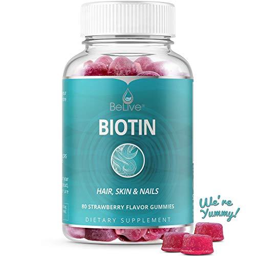 Biotin Gummies 10,000mcg Highest Potency for Hair Growth, Promotes Healthier Hair, Skin & Nail, Premium, Non-GMO, Pectin-Based - Best Strength for Women & Men, 60 Count