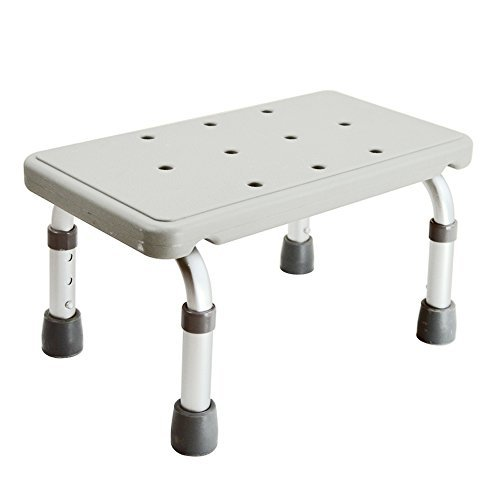 Active Authority Adjustable Skidproof Mini Aluminum Bath stool, up to 300lbs, White