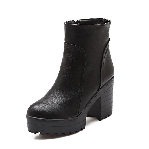 Zipper Black Closed High Women's AgooLar Toe Heels Low Round Boots Top Solid wxpRpPI