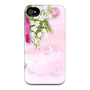 Touching Rhythms Premium Protective Hard Case For Iphone 4/4s- Nice Design - Chrysanthemums Butterflies