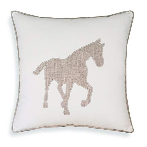 Animal Cotton Throw Pillow Covers Horse Pattren Embroidered 18x18 Inches for Couch Cushions Covers (White) ()