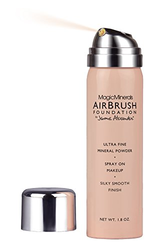 MagicMinerals AirBrush Foundation by Jerome Alexander 3-Piece Makeup Set - Liquid Silk AirPrimer, Mineral Foundation Spray and Kabuki Brush - Light Medium Shade