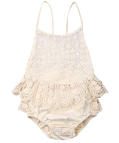 Newborn Infant Baby Girl Clothes Lace Halter Backless Jumpsuit Romper Bodysuit Sunsuit Outfits Set (Off White, 18-24 Months) ()
