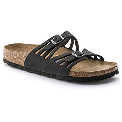 Birkenstock Women's Granada Soft Footbed Sandal,Black Oiled Leather,38 M EU by Birkenstock