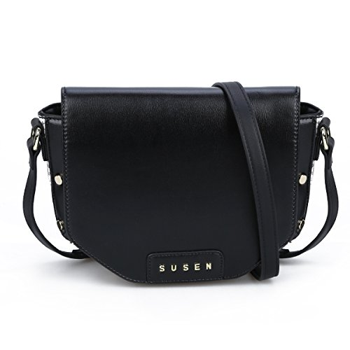 Womens Crossbody Bag, SUSEN Fashion Mini Shoulder Bags Purse PU Leather for Ladies Girls Student (Black)